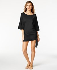 Michael Kors Side Tie Tunic Cover Up Women's Swimsuit Black
