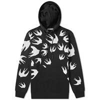 Mcq By Alexander Mcqueen Large Swallow Print Popover Hoody Black