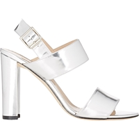 Manolo Blahnik Khan Double Strap Sandals Silver