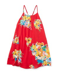Ralph Lauren Childrenswear Floral Voile Racerback Shift Dress Red Yellow Size 5 6X Girl's Size 6