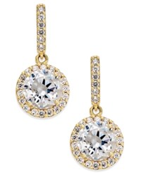 Macy's Cubic Zirconia Round Halo Drop Earrings In 10K Gold Yellow Gold