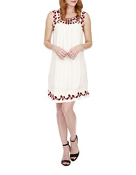 Lucky Brand Embroidered Shift Dress White