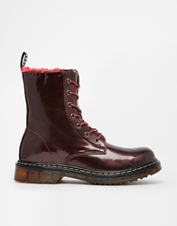 Truffle Collection Truffle Lace Up Chunky Boots Burgundy