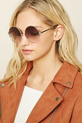 Forever 21 Round Gradient Sunglasses Gold Grey
