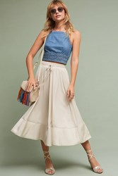Anthropologie Nora Tie Waist Skirt Light Grey