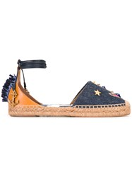 Dolce And Gabbana Denim Anchor Espadrilles Blue
