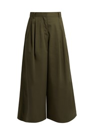 Valentino High Rise Cotton Gabardine Cropped Trousers Khaki