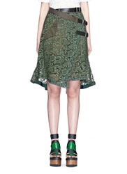 Sacai Guipure Lace Belted Wrap Skirt Green