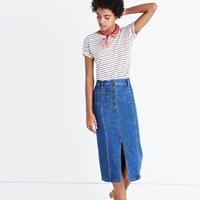 Madewell High Slit Jean Skirt Lena Wash