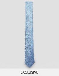 Noose And Monkey Jacquard Blade Tie In Leopard Print Blue