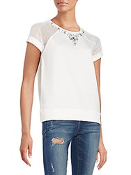Romeo And Juliet Couture Embellished Neck Top White