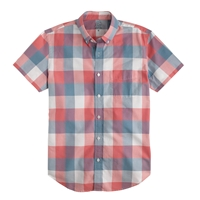 J.Crew Short Sleeve Lightweight Vintage Oxford Shirt In Triple Gingham Seawater