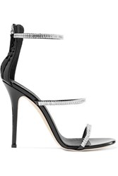 Giuseppe Zanotti Harmony Crystal Embellished Patent Leather Sandals Black