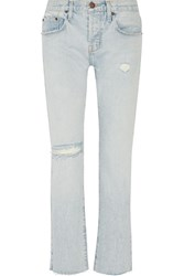 Current Elliott The Crossover Distressed Mid Rise Straight Leg Jeans Light Denim