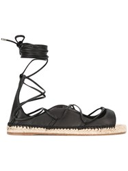 Dsquared2 Lace Up Espadrille Sandals Women Jute Leather Nappa Leather Rubber 36 Black