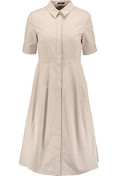 Raoul Soho Cotton Blend Shirt Dress Ecru