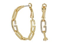 Guess Frozen Chain Link Hoop Earrings With Crystal Gold Crystal Earring