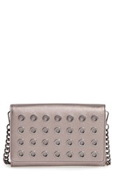 Phase 3 Grommet Faux Leather Crossbody Bag Metallic Pewter