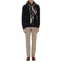 Luciano Barbera Men's Abstract Print Lightweight Cashmere Twill Scarf Blue