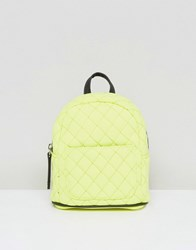 New Look Mini Neon Quilted Backpack Yellow