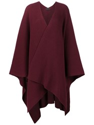 The Row Front Fold Knitted Poncho Red