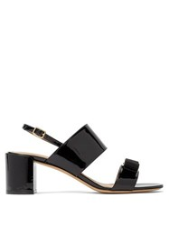 Salvatore Ferragamo Giulia Bow Embellished Patent Leather Sandals Black
