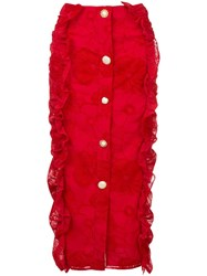 Mother Of Pearl Ruffled Pencil Skirt Red