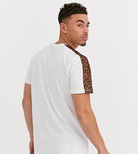 Only And Sons Leopard Print Sleeve Stripe T Shirt In White