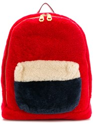 Liska Lamb Fur Backpack Red