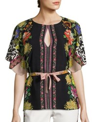 Etro Floral Butterfly Convertible Silk Blouse Pink