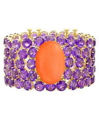 Margot Mckinney Jewelry Nyc Coral And Amethyst Cuff Bracelet In 18K Yellow Gold