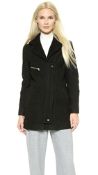Whistles Eliot Bonded Biker Coat Black