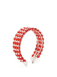 Shrimps Bevelled Bead And Faux Pearl Embellished Headband Red