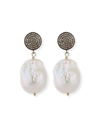 Margo Morrison Baroque Pearl Pave Diamond And Crystal Drop Earrings