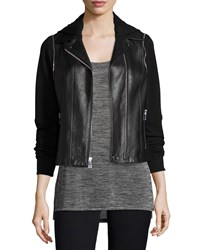 Vince Mixed Media Hooded Moto Jacket Black Women's Size S