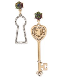 Betsey Johnson Two Tone Pave Colored Stone Mismatch Drop Earrings Multi
