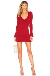 For Love And Lemons Oxford Long Sleeve Dress Red