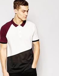 Asos Polo Shirt In Colour Block And Mesh Oxblood