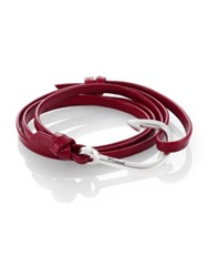 Miansai Silvertone Hook Leather Bracelet Red Burgundy
