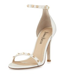 Neiman Marcus Bailie Studded Leather Sandal Winter Whi