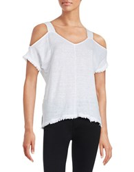 Red Haute Cold Shoulder Top White