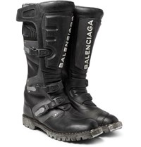 Balenciaga Leather Motorcycle Boots Black