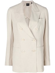Aspesi Double Breasted Blazer Nude And Neutrals