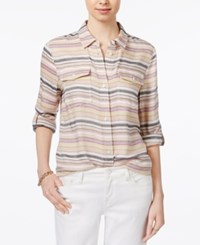 Tommy Hilfiger Striped Roll Tab Shirt Only At Macy's Yellow