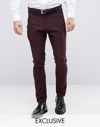 Religion Super Skinny Suit Trouser With Patch Pocket Plum Purple