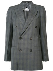 Maison Martin Margiela Checked Double Breasted Blazer Women Cotton Viscose Wool 44 Grey