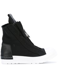 Cinzia Araia Chunky Hi Top Sneakers Women Cotton Calf Leather Leather Rubber 37 Black