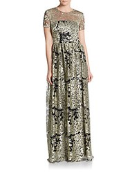 David Meister Metallic Lace Gown Gold