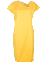 Gianni Versace Vintage Asymmetric Neck Dress Yellow And Orange