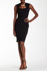 Marina Sleeveless Rhinestone Detail Sheath Dress Black